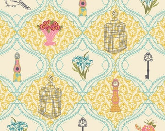 SALE Art Gallery Fabric - Bari J Lilly Belle French Sampler Creme Fabric - LillyBelle Yellow - Spring Fabric - Clearance Fabric by the Yard