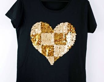 Great Love tee, women's tshirt - gold sequins heart on black cotton - gift for her - by Monikatees
