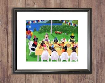 Labrador Print, Birthday Party Labradors, Nursery Art, Whimsical Labrador artwork by Naomi Ochiai 8 x 10