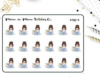 1318~~Planner Girl Reading Book Planner Stickers.