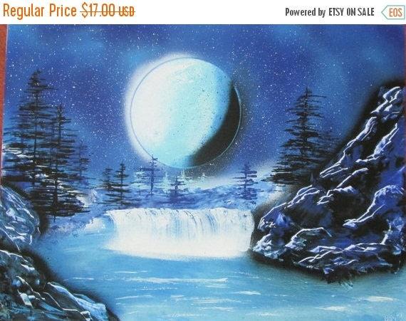 on sale blue landscape spray paint artspace by. Black Bedroom Furniture Sets. Home Design Ideas