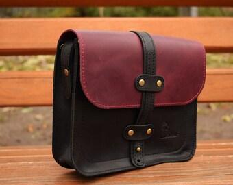 Handmade Messenger bag Leather Cross body purse Ipad Bag Leather Shoulder bag Handicraft handbag Combo colors Gift for her Original Gift