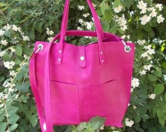 Pink Leather bag, Pink leather tote, Pink leather handbag, Pink leather purse, Fuchsia Leather bag, Large Tote Bag, Purple Leather Tote