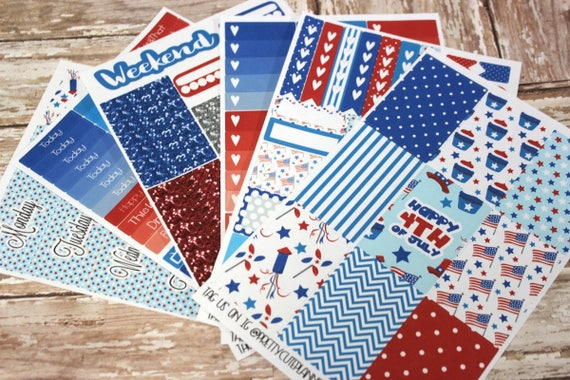 Planner Stickers - Fits Happy Planner Classic - Fourth of July Planner Stickers - Ala Carte Weekly Sticker Kit - 4th of July planner sticker