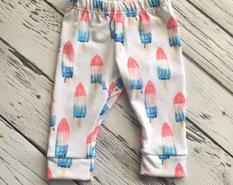 RTS Leggings Bomb Pop Red White and Blue Leggings, Baby Leggings, Baby Leggings, Baby Pants, Baby Clothing, Popsicle Leggings, Summer Outfit