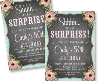 50th Surprise Birthday Invitations for a Woman / Adult Surprise Party Invitations 30th 40th 60th 70th or Any Age / Personalized Printable