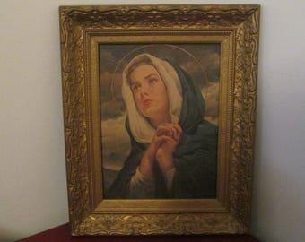 Vintage Virgin Mary Our Lady of Tears Sorrow Grace Framed Picture Wall Hanging Catholic  Icon Mater Dolorosa