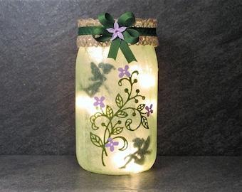 Garden Fairies Jar Light, Fairy Light, Mason Jar Fairy Light