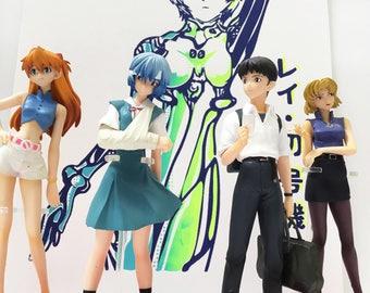 Neon Genesis Evangelion Fan Bundle - Screen Art Print & Figurine Set - Asuka Langley - Rei Ayanami - Shinji Ikari - Ritsuko Akagi - Anime