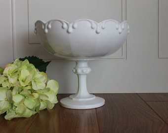 Vintage Milk Glass Garland Bowl, Milk Glass, Wedding Decor, Vintage Wedding, Milk Glass Vase, Pedestal Milk Glass Bowl, Bridal Shower