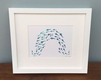 Shoal of fish Art Framed Bespoke Handcrafted Unique Gift Present Blue Iridescent Sea