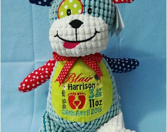 Personalised Harlequin Dog Cubby Stuffie Bear, Cubbies Personalised Gift, Birth, Christening, Any Occasion, Any Name/Message