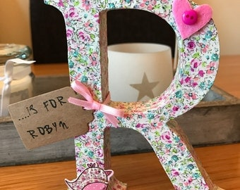 decoupage wooden letter newbaby christening home decor new baby