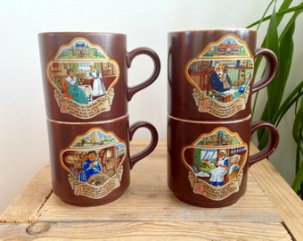 Vintage coffee mugs, Villeroy and Boch retro mugs, 70s, brown decorated cups