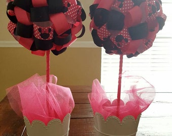 Minnie Mouse Themed Ribbon Topiary Centerpieces