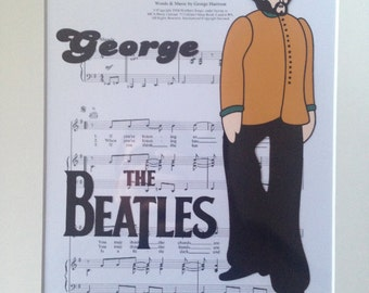 The Beatles - Yellow Submarine - George Harrison  -  Hand drawn & hand painted cel