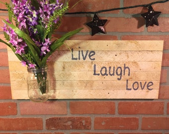 "Rustic ""Live Laugh Love"" sign, wall decor"
