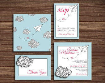 Paper Airplane: Wedding Invitation Suite;     Print at Home Wedding Invitations