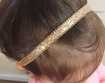 Gold Sparkle Halo Headband, halo headband, headband, newborn photo prop, baby girl, girl toddler, baby gift