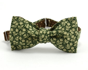Bow tie green, double-sided bow tie green, brown bow tie, bow tie of cotton,mens green and brown tie,brown bow tie polka,Double-sided bowtie