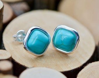 Silver Turquoise Stud Earrings, Blue Turquoise Earrings, Sterling Silver, Silver Earrings, Turquoise Studs, Gift for Mom, Turquoise Howlite