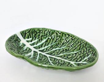 Midcentury Portuguese leaf shaped earthenware - Bordallo Pinheiro