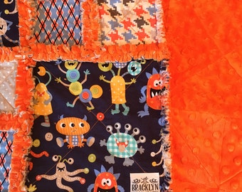 Monster Mash theme Baby Rag Quilt  with Minky Backing