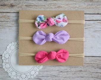 Set of 3 Knot Bow Nylon headbands, baby nylon headband, Knotted bows, newborn headband, baby shower gift set, nylon headband set
