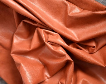 Brown Orange Genuine Leather Hide 80cmx 60cm 0,4 mm Thickness Clothing Apparel Leather Red Orange Brick Camel Leather b368