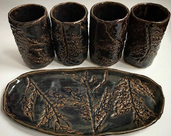 Maroon Branch Tumbler and Tray Set