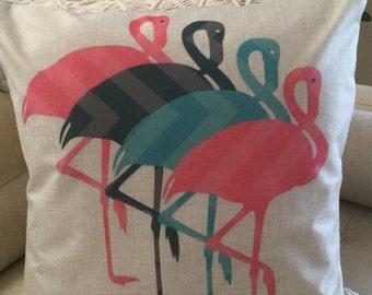 "Pink FLAMINGO Decorator Pillow. FREE Pillow Form/Insert.. 18""x18"". Cotton/linen.. Coastal Decor. Beach Decor. Nautical Decor"