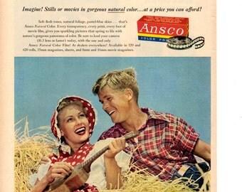 1951 Ansco Film camera vintage magazine ad shop wall decor