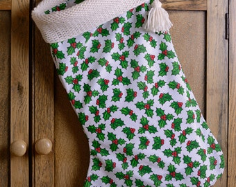 White Christmas Stocking Cotton with Knitted top
