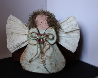Country angel, angel decor, wood angel, primitive angel, Christmas angel, folk art decor, folk art angel