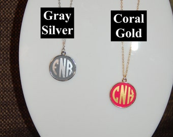 Monogram Necklace Enamel Disc Blank Pendant Necklace for Women