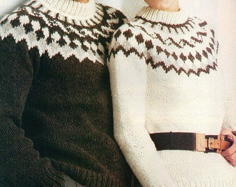 His And Hers Fair Isle, Pine Tree Design With Round Yoke Sweaters ...
