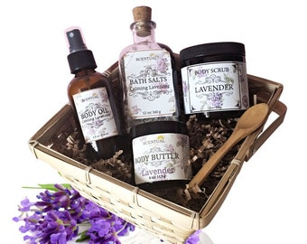 ORGANIC LAVENDER GIFT Basket, Organic Spa Set, Beauty Gift Set, Relaxing Bath & Body Gift, Holiday Gift Basket, Gifts for Her