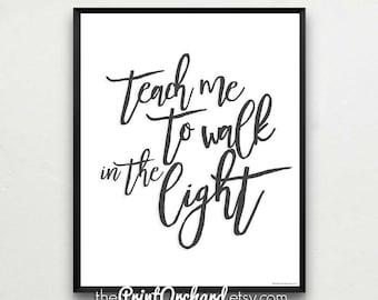 Teach Me to Walk in the Light of His Love, LDS Primary Songs, Nursery Art, Christian Nursery Art, Baby Wall Art, Christian Home Decor