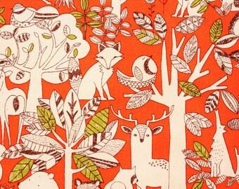 Woodland Fabric, Fox Fabric, Bear Fabric, Owl Fabric, Cotton Canvas , Cotton Duck, Orange, Forest Animals,  Half Metre
