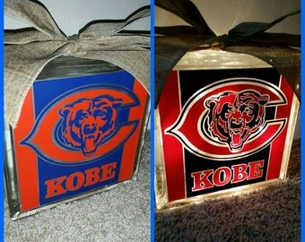 Personalized 8x8 Chicago Bears lighted glass block