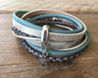 Very nice wrap bracelet in soft tones with magnetic seal size M (wrist 16/17/18 cm)