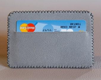 duplex grey leather, ETUI card 2 pockets. Gift for men. Valentine's day