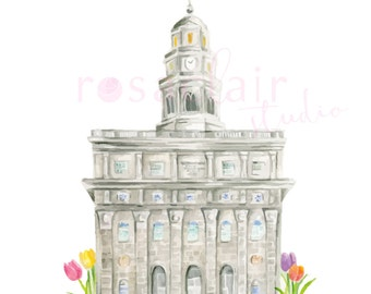 LDS Nauvoo Illinois Temple Watercolor Print Wedding Home Gift Floral Peony Painting Art Baptism Birthday Custom Personalize Christmas