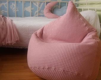 Linen waffle bean bag chair cover| Softened natural linen kids beanbag| Pale rose bean bag| Nursery pink decor| Girls room| Baby shower gift