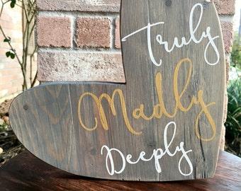 Truly Madly Deeply, Heart Sign, Wood Sign, Wooden Heart, Wall Decor, Shelf Decor, Mantle Decor, Wood Decor, Heart Decor, Love Decor, Bedroom