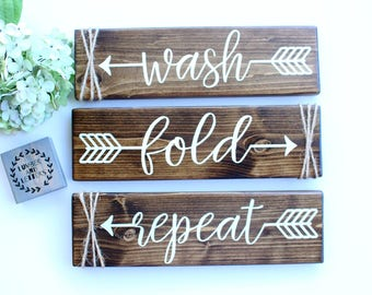 laundry room decor laundry room sign wash fold repeat farmhouse laundry room - Laundry Room Decor