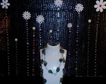 Vintage Handmade Very Long Malachite Necklace