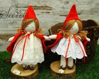 Red Riding Hood, Red Riding Hood Dolls, Handmade Red Riding Hood, Fairytale Characters, Dolls, Handmade Dolls, Set of 5 Dolls, Baby Room
