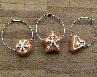 Gingerbread Snowflake Wine Charms