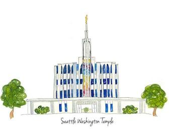 Seattle Washington LDS Temple-Watercolor